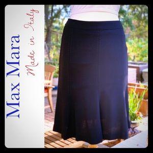 MAXMARA virgin wool dark navy fluted skirt